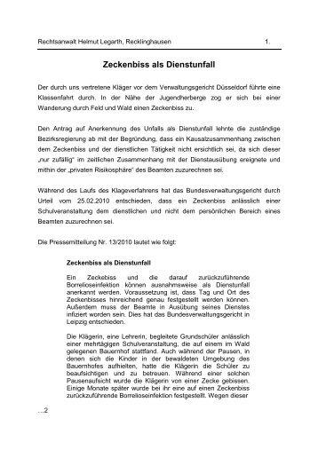 Zeckenbiss als Dienstunfall - Kupferschlaeger.de