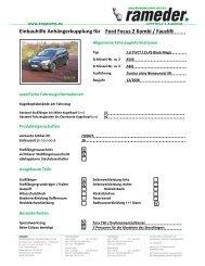 Einbauhilfe Anhängerkupplung für Ford Focus 2 Kombi / Facelift