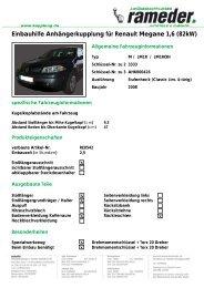 Einbauhilfe Anhängerkupplung für Renault Megane 1,6 (82kW)