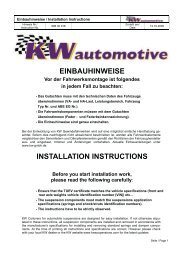 EINBAUHINWEISE INSTALLATION INSTRUCTIONS