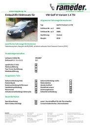 Einbauhilfe Elektrosatz für VW Golf VI Variant 1.4 TSI