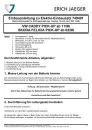 Einbauanleitung zu Elektro-Einbausatz 749401 VW CADDY PICK ...