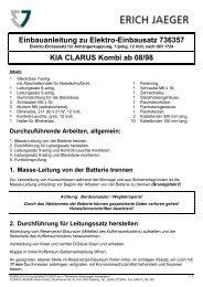 Einbauanleitung zu Elektro-Einbausatz 736357 KIA CLARUS Kombi ...