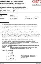 Montage- und Betriebsanleitung Kupplungskugel mit Halterung (KmH)