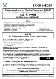 Einbauanleitung zu Elektro-Einbausatz 749887 AUDI A4 AVANT
