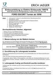 Einbauanleitung zu Elektro-Einbausatz 749576 FORD ESCORT ...