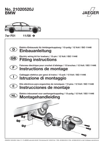 No. 21020520J BMW Einbauanleitung Fitting instructions ...