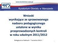 wnioski z kontroli - Kuratorium Oświaty w Warszawie