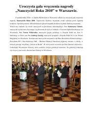Nauczyciel Roku 2010 - Kuratorium Oświaty we Wrocławiu