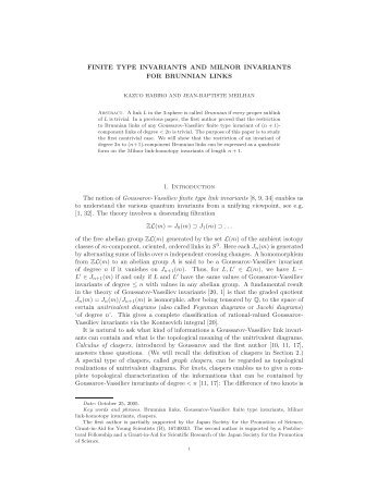 FINITE TYPE INVARIANTS AND MILNOR INVARIANTS FOR ...