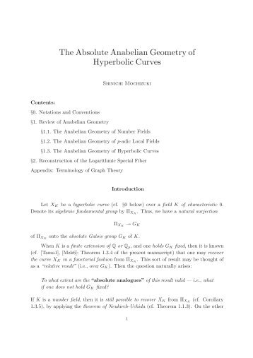 The Absolute Anabelian Geometry of Hyperbolic Curves