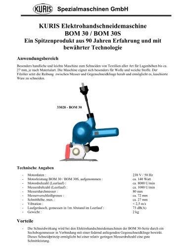 Prospekt BOM 30 herunterladen - Kuris Spezialmaschinen GmbH