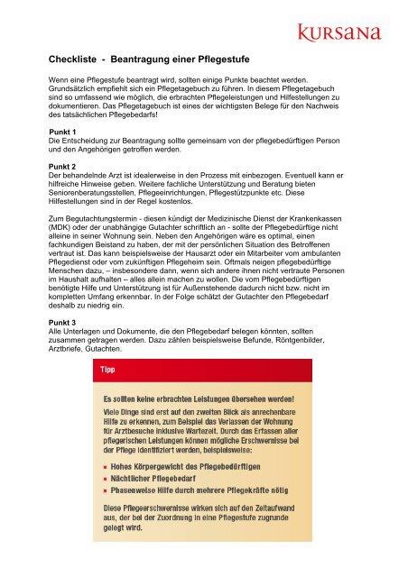 pdf Checkliste Beantragung einer Pflegestufe (51.67 KB ) - Kursana