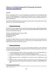 Allgemeine Geschäftsbedingungen für die Nutzung der Internetseite ...