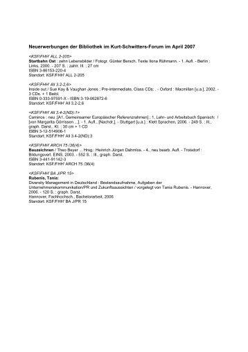 Neuerwerbungen der Bibliothek im Kurt-Schwitters-Forum im April ...