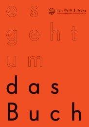 Katalogs ›es geht um das Buch‹ - Kurt Wolff Stiftung