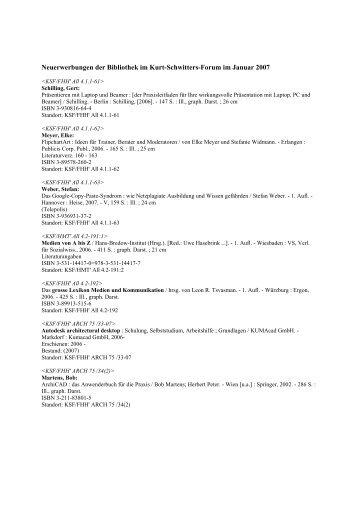 Neuerwerbungen der Bibliothek im Kurt-Schwitters-Forum im Januar ...
