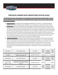KÜRYAKYN CHROME RUSH SWEEPSTAKES OFFICIAL RULES