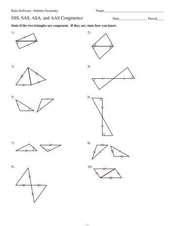 Geometry Unit 8 Congruent Triangles SSS SAS ASA AAS HL Worksheet