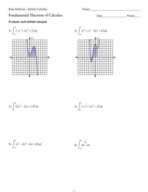 First Fundamental Theorem of Calculus - Kuta Software