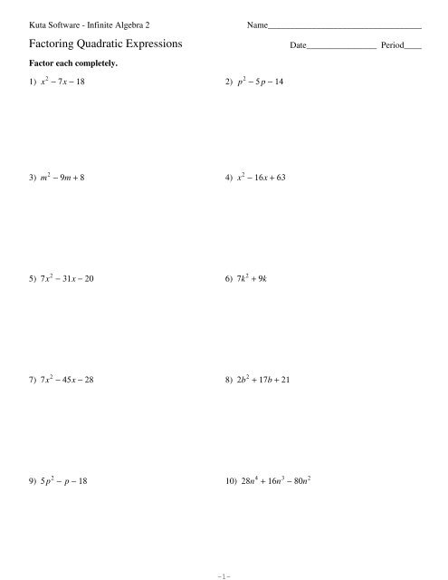 Factoring Quadratic Expressions Kuta Software