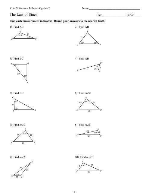 Kuta Software Infinite Algebra 2 Right Triangle Trig