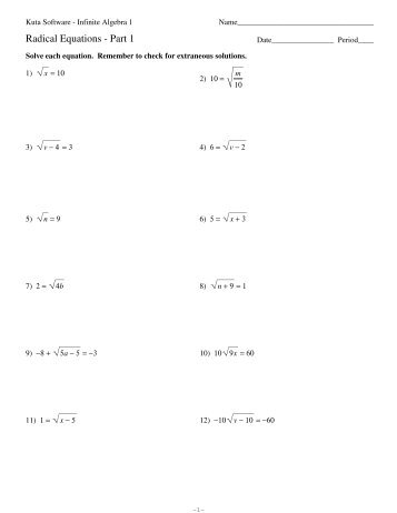 Radical Equations 1 - Kuta Software