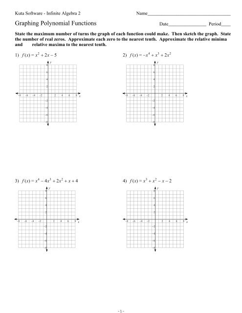 Graphing Polynomial Functions Ks Ia2 Kuta Software