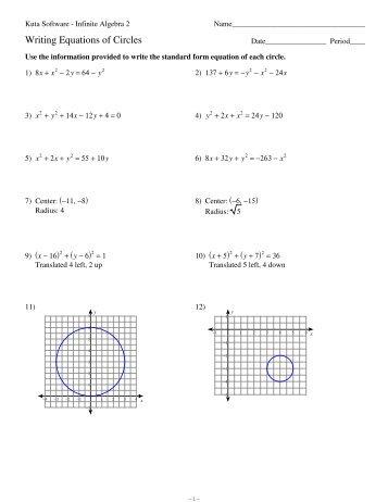 Equations of Circles Worksheet - Kuta Software