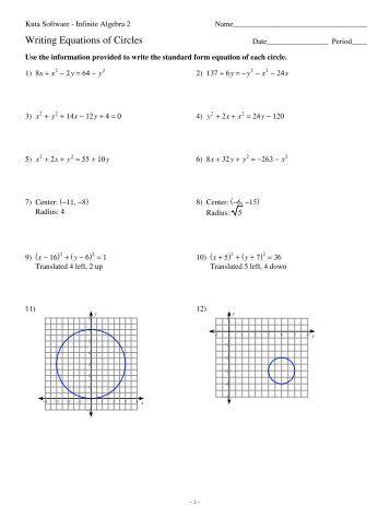 11 equations of circles kuta software. Black Bedroom Furniture Sets. Home Design Ideas