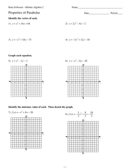 Properties of Parabolas pdf - Kuta Software