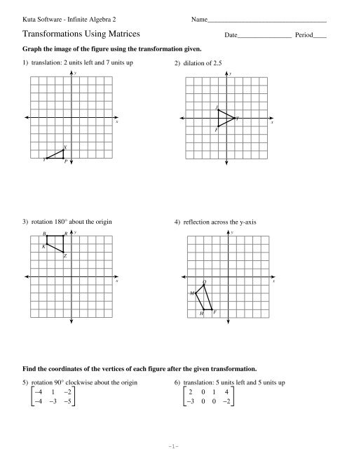 Worksheet Quadratic Transformations Kuta Software