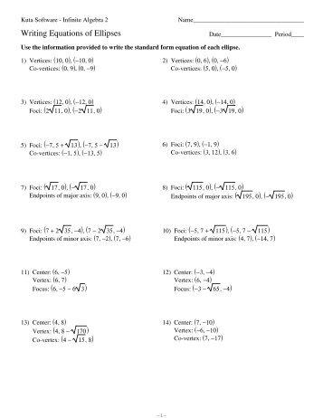 Equations of Ellipses - Kuta Software