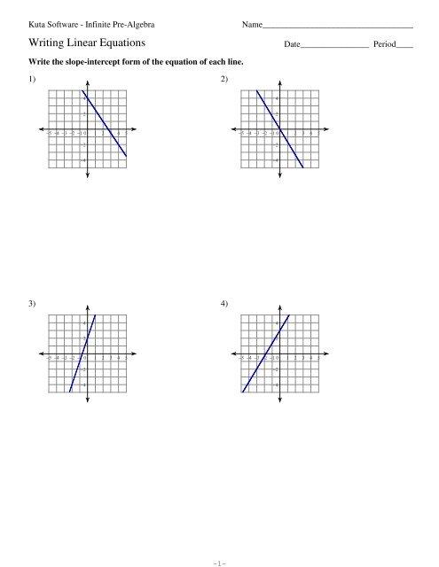slope intercept form kuta worksheet  Writing Linear Equations - Kuta Software