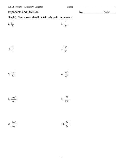 Exponents and Division - Kuta Software