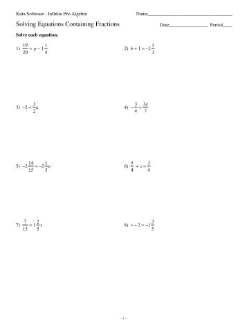 Equations Containing Fractions Kuta
