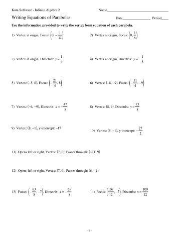 Algebra 2: Converting Parabola Equations Standard Form Vertex ...