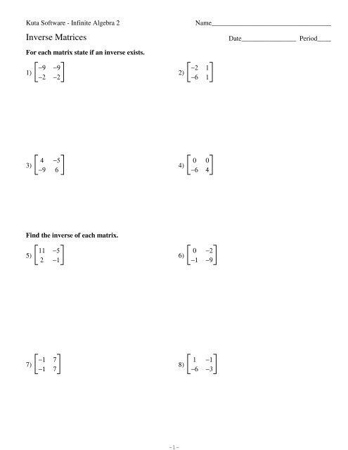Inverse Matrices.pdf - Kuta Software