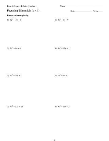 Algebra 1 Unit 8 Factoring Quadratic Trinomials (LC =1) Worksheet ...