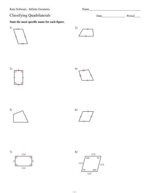 6-Classifying Quadrilaterals - Kuta Software
