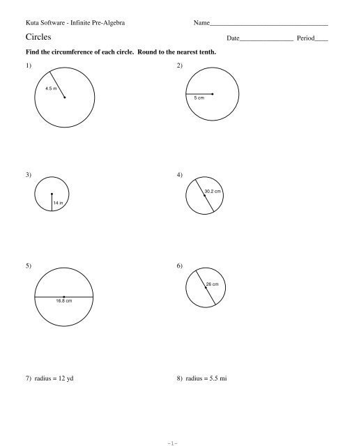 Area and circumference of circles - Kuta Software