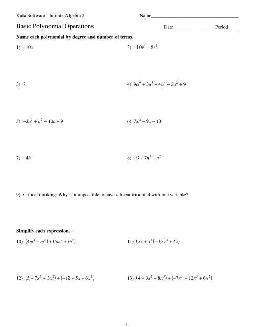 Polynomial Basics Pdf Kuta Software Division of polynomials worksheet kuta