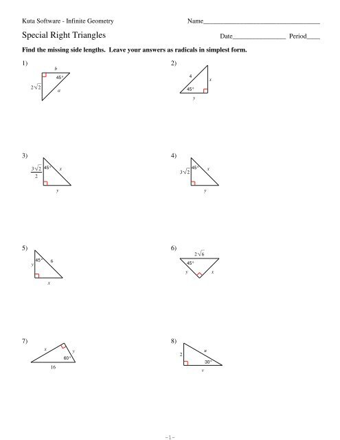 8 Special Right Triangles Pdf Kuta Software