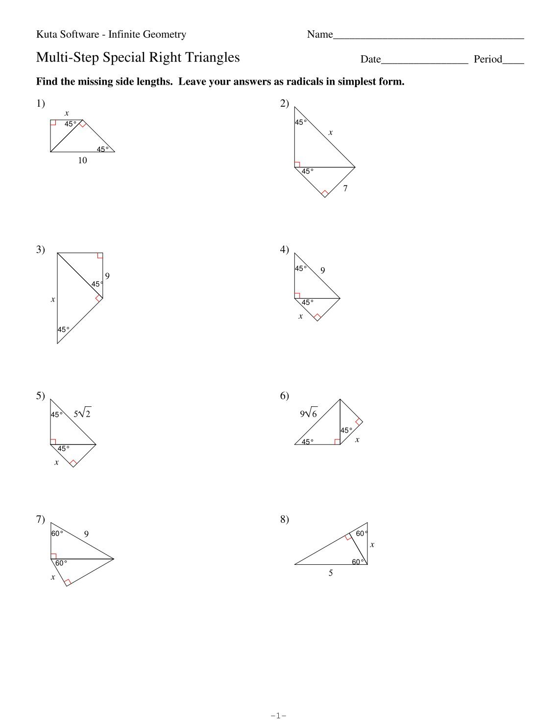 Special Right Triangles Worksheet Answers Kuta Templates and – Special Right Triangles 45 45 90 Worksheet