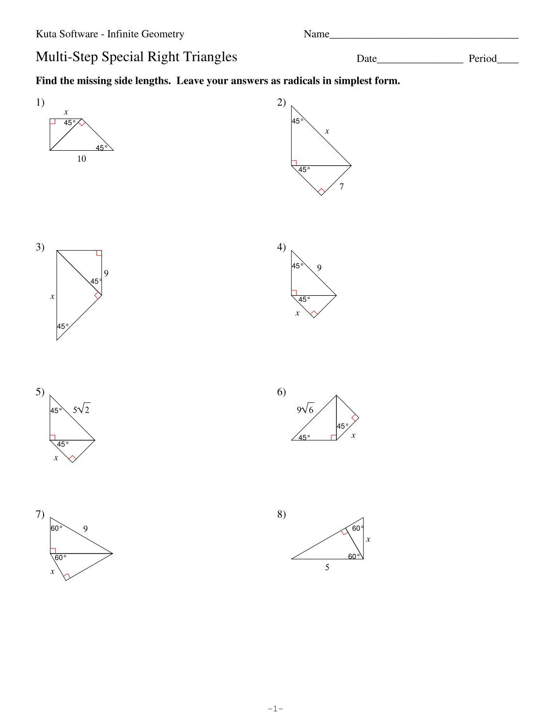 geometry special right triangles worksheet worksheets releaseboard free printable worksheets. Black Bedroom Furniture Sets. Home Design Ideas