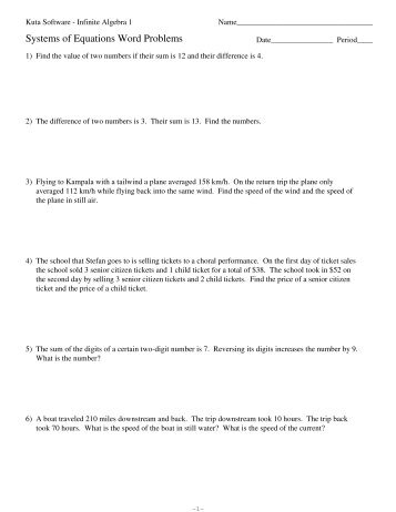Number Names Worksheets algebra word problems worksheet : Algebra 1 Systems Of Equations Word Problems Worksheet - pre ...