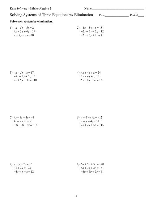 Solving Systems Of Linear Equations By Elimination Worksheet Pdf