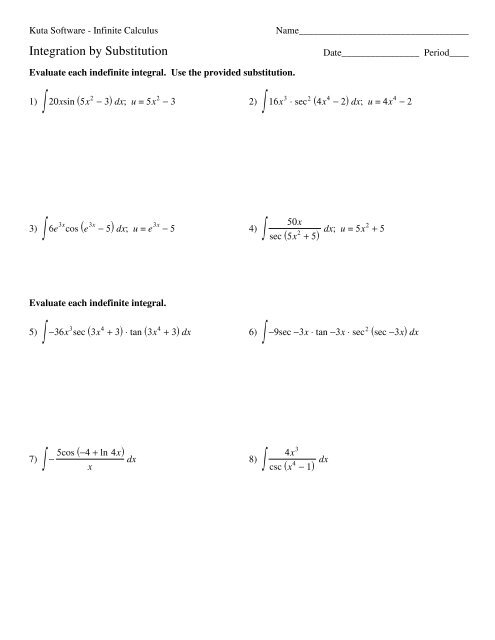 Substitution with Trigonometric Functions - Kuta Software