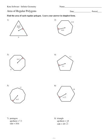 Area of regular polygons worksheet kuta software