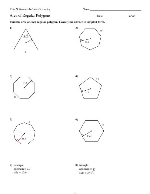 6-Area of Regular Polygons.pdf - Kuta Software